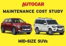 Autocar India 60,000km Maintenance Cost Study Part 3 – Mid size SUVs