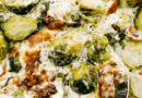 Creamy Parmesan Brussel Sprouts Gratin with Bacon